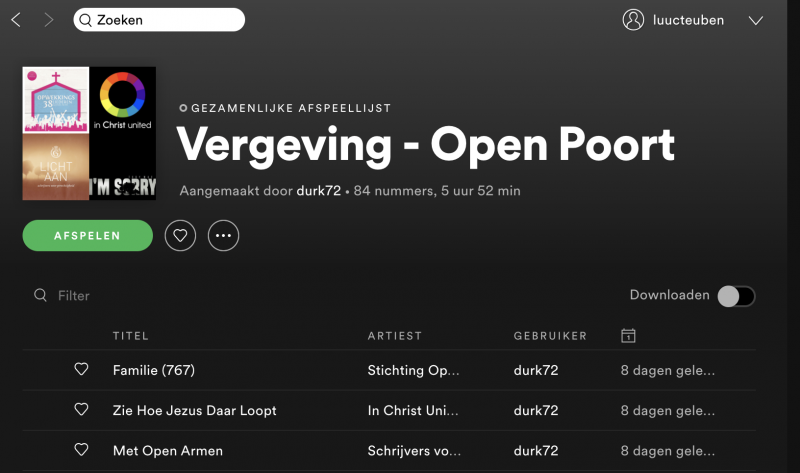 "Spotify playlist :   ""Vergeving - Open Poort"""